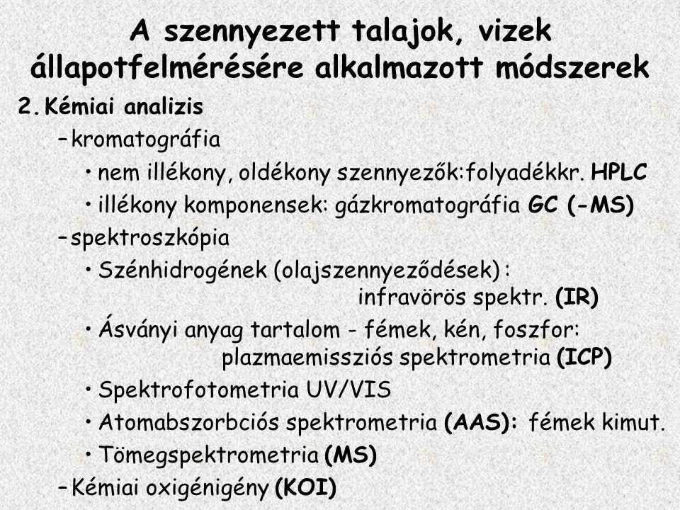 2.Kémiai analizis –kromatográfia nem illékony, oldékony szennyezők:folyadékkr. HPLC illékony komponensek: gázkromatográfia GC (-MS) –spektroszkópia Sz