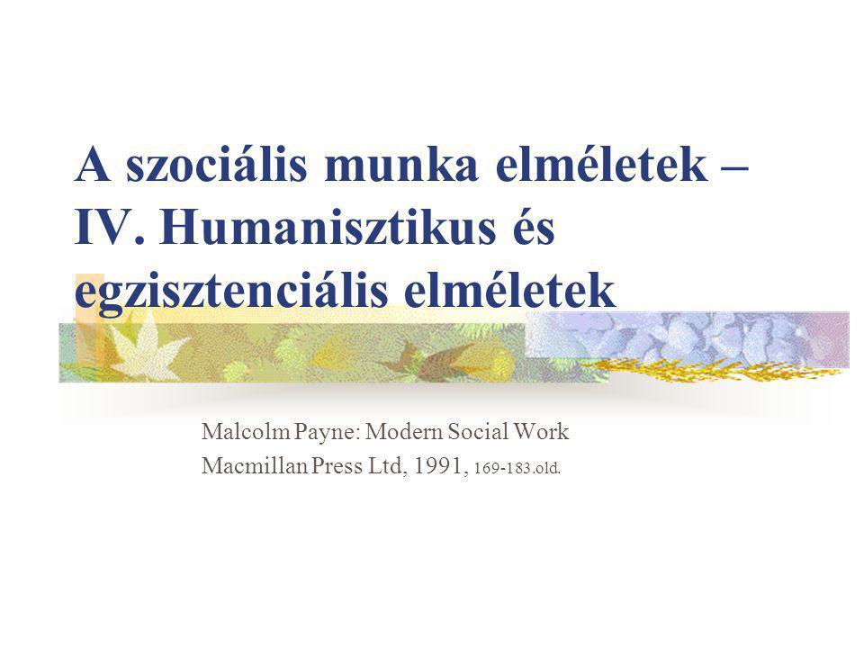 Elméleti bázis Kiinduló pontok Filozófia irányzatok: önkiteljesítés, ember és környezetének harmóniája A szociális munka célja, hogy ezek megvalósításában segítse az embereket Kierkegaard, Jaspers, Heidegger, Scheler, Jaspers, Sartre, Camus: http://mek.oszk.hu/02900/02963/index.phtml http://india.tilos.hu/szabi/ http://smid.mine.nu/mynta/music.php