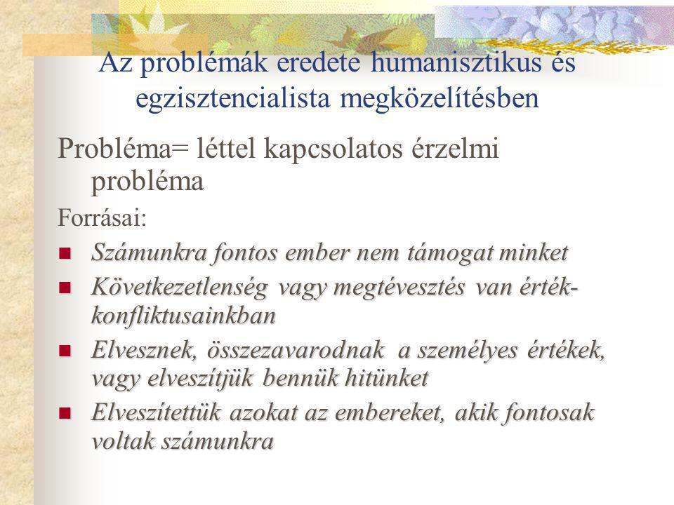 Az problémák eredete humanisztikus és egzisztencialista megközelítésben Probléma= léttel kapcsolatos érzelmi probléma Forrásai: Számunkra fontos ember nem támogat minket Számunkra fontos ember nem támogat minket Következetlenség vagy megtévesztés van érték- konfliktusainkban Következetlenség vagy megtévesztés van érték- konfliktusainkban Elvesznek, összezavarodnak a személyes értékek, vagy elveszítjük bennük hitünket Elvesznek, összezavarodnak a személyes értékek, vagy elveszítjük bennük hitünket Elveszítettük azokat az embereket, akik fontosak voltak számunkra Elveszítettük azokat az embereket, akik fontosak voltak számunkra
