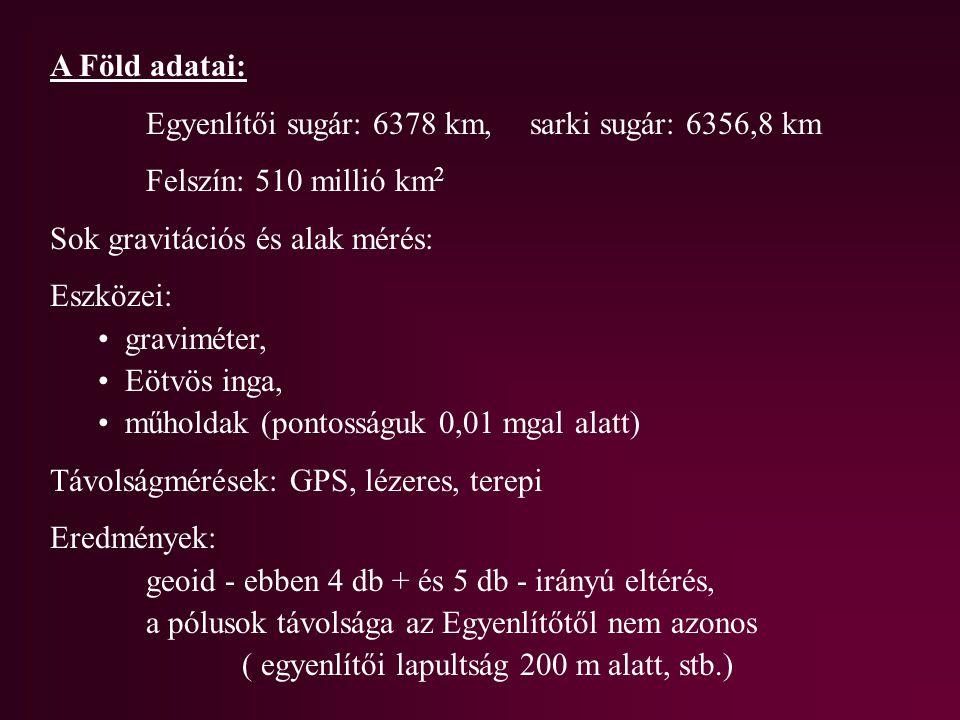 A Föld adatai: Egyenlítői sugár: 6378 km, sarki sugár: 6356,8 km Felszín: 510 millió km 2 Sok gravitációs és alak mérés: Eszközei: graviméter, Eötvös