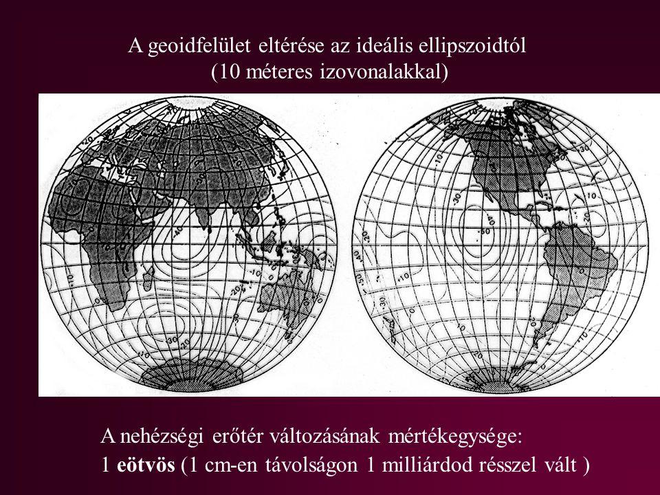 A geoidfelület eltérése az ideális ellipszoidtól (10 méteres izovonalakkal) A nehézségi erőtér változásának mértékegysége: 1 eötvös (1 cm-en távolságo