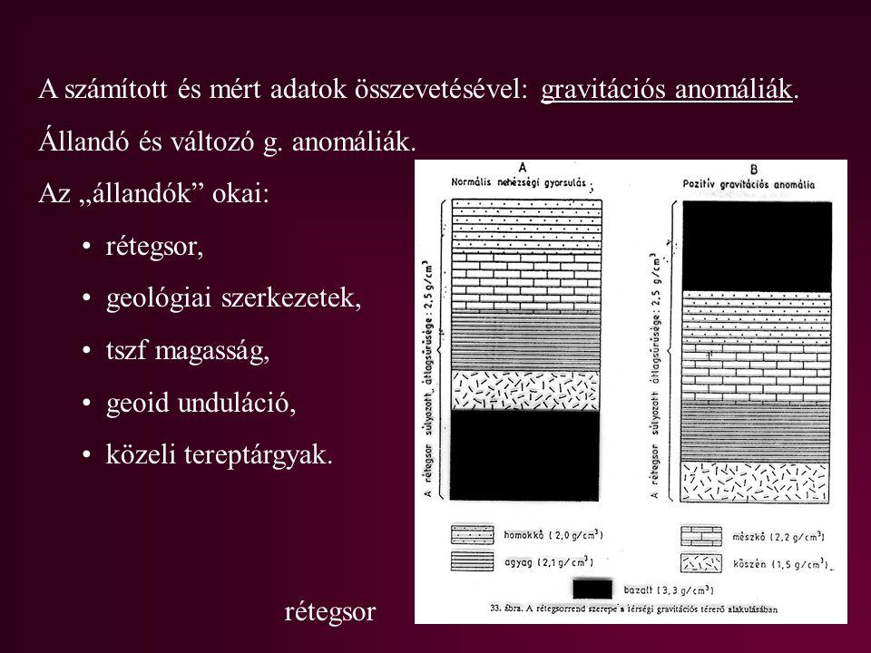 """A számított és mért adatok összevetésével: gravitációs anomáliák. Állandó és változó g. anomáliák. Az """"állandók"""" okai: rétegsor, geológiai szerkezetek"""