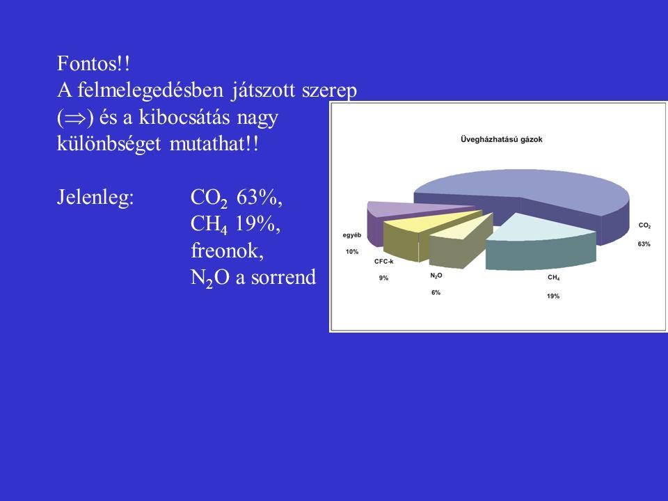 Fontos!! A felmelegedésben játszott szerep (  ) és a kibocsátás nagy különbséget mutathat!! Jelenleg: CO 2 63%, CH 4 19%, freonok, N 2 O a sorrend