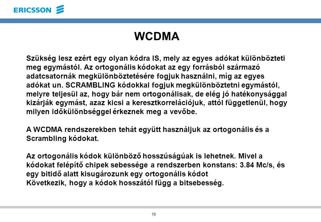 19 WCDMA Szükség lesz ezért egy olyan kódra IS, mely az egyes adókat különbözteti meg egymástól.