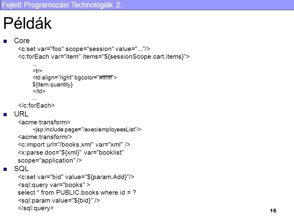 Fejlett Programozási Technológiák 2. 16 Példák Core...
