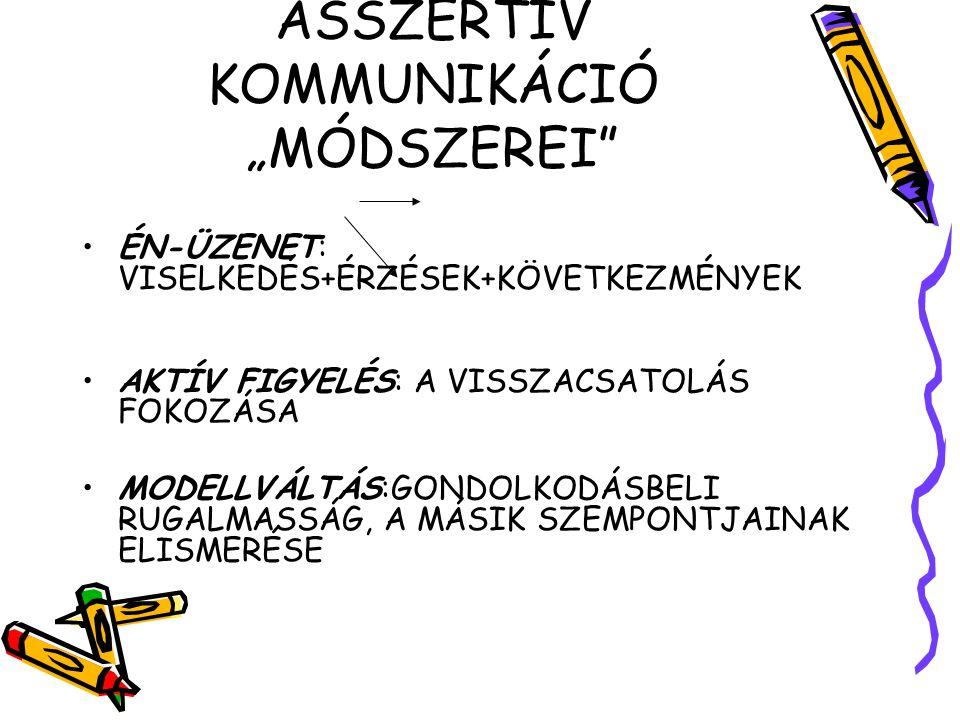 """ASSZERTÍV KOMMUNIKÁCIÓ """"MÓDSZEREI"""" ÉN-ÜZENET: VISELKEDÉS+ÉRZÉSEK+KÖVETKEZMÉNYEK AKTÍV FIGYELÉS: A VISSZACSATOLÁS FOKOZÁSA MODELLVÁLTÁS:GONDOLKODÁSBELI"""