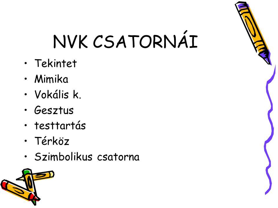 NVK CSATORNÁI Tekintet Mimika Vokális k. Gesztus testtartás Térköz Szimbolikus csatorna