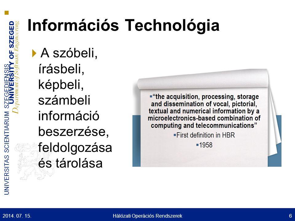 UNIVERSITY OF SZEGED D epartment of Software Engineering UNIVERSITAS SCIENTIARUM SZEGEDIENSIS Információs Technológia  A szóbeli, írásbeli, képbeli, számbeli információ beszerzése, feldolgozása és tárolása 2014.