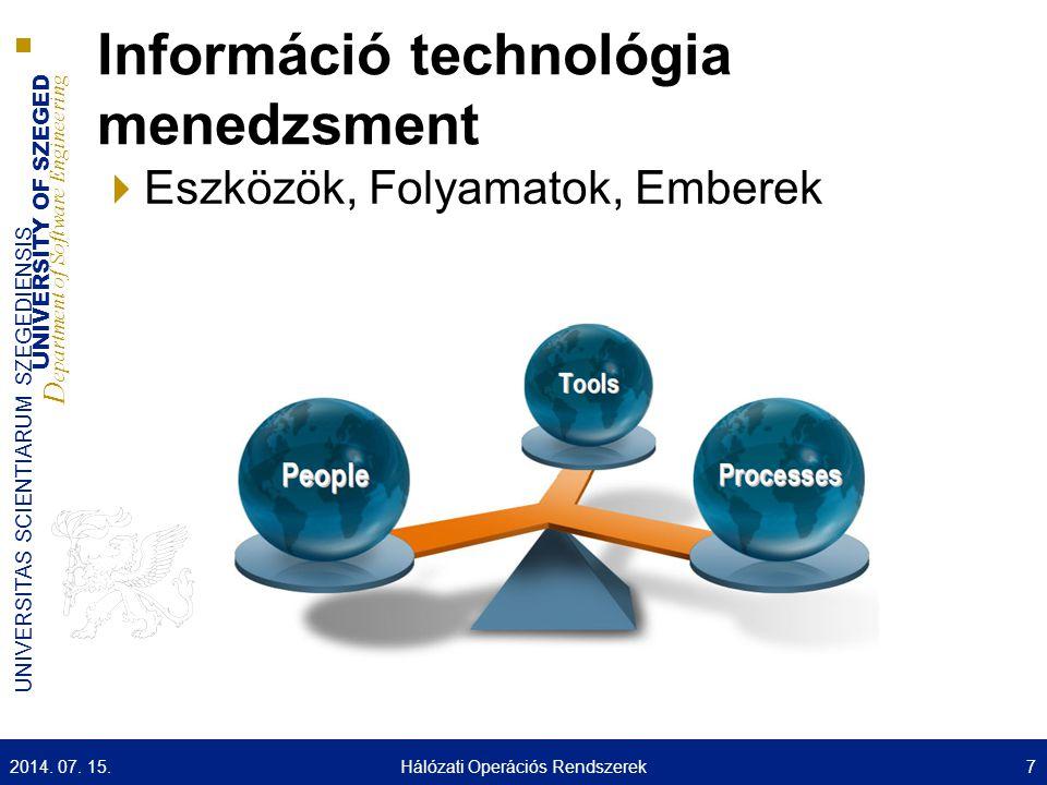 UNIVERSITY OF SZEGED D epartment of Software Engineering UNIVERSITAS SCIENTIARUM SZEGEDIENSIS Technikai menedzsment 2014.