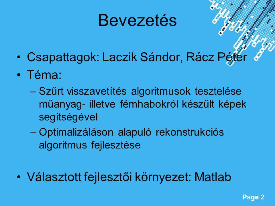 Powerpoint Templates Page 2 Bevezetés Csapattagok: Laczik Sándor, Rácz Péter Téma: –Szűrt visszavetítés algoritmusok tesztelése műanyag- illetve fémha