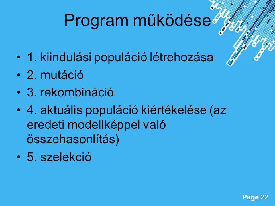 Powerpoint Templates Page 22 Program működése 1. kiindulási populáció létrehozása 2. mutáció 3. rekombináció 4. aktuális populáció kiértékelése (az er