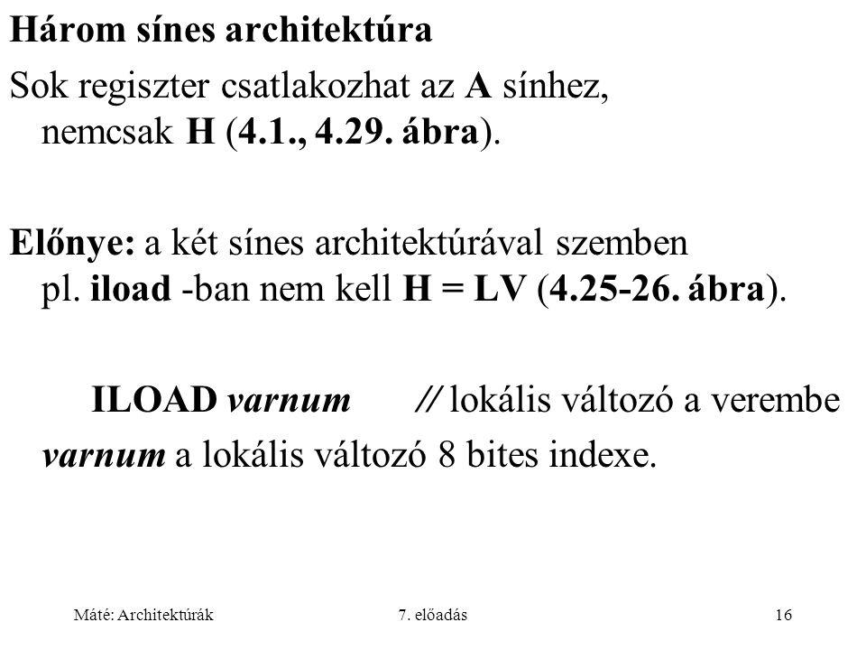 Máté: Architektúrák7. előadás16 Három sínes architektúra Sok regiszter csatlakozhat az A sínhez, nemcsak H (4.1., 4.29. ábra). Előnye: a két sínes arc