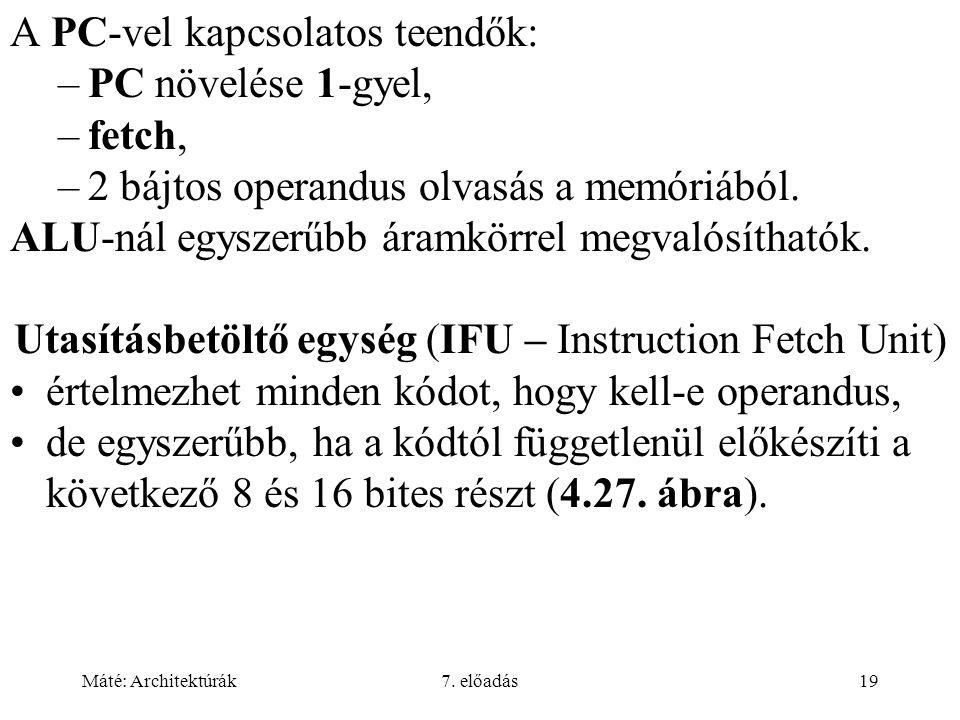 Máté: Architektúrák7. előadás19 A PC-vel kapcsolatos teendők: –PC növelése 1-gyel, –fetch, –2 bájtos operandus olvasás a memóriából. ALU-nál egyszerűb
