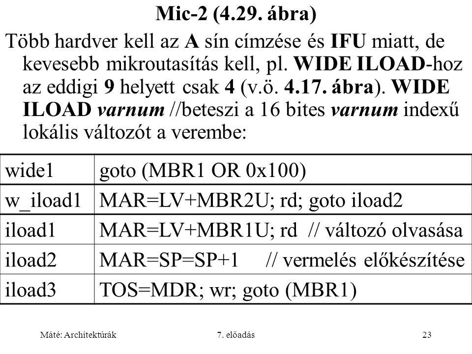 Máté: Architektúrák7. előadás23 Mic-2 (4.29. ábra) Több hardver kell az A sín címzése és IFU miatt, de kevesebb mikroutasítás kell, pl. WIDE ILOAD-hoz