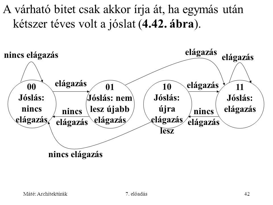 Máté: Architektúrák7. előadás42 A várható bitet csak akkor írja át, ha egymás után kétszer téves volt a jóslat (4.42. ábra). nincs elágazás 01 Jóslás: