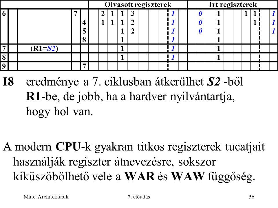Máté: Architektúrák7. előadás56 Olvasott regiszterekÍrt regiszterek 67 458458 2121 1111 11111111 322322 11111111 000000 11111111 11111 111111 7(R1=S2)