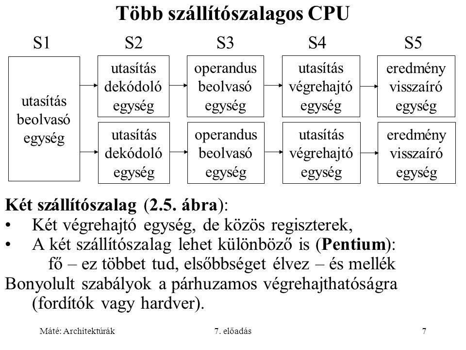 Máté: Architektúrák7. előadás7 Több szállítószalagos CPU Két szállítószalag (2.5. ábra): Két végrehajtó egység, de közös regiszterek, A két szállítósz