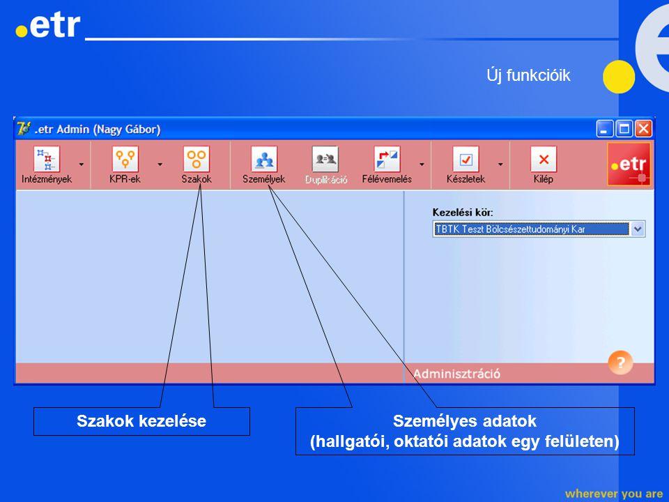 Személyes adatok (hallgatói, oktatói adatok egy felületen) Szakok kezelése Új funkcióik