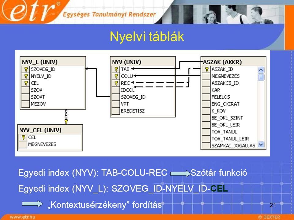 """21 Nyelvi táblák Egyedi index (NYV): TAB-COLU-REC Szótár funkció Egyedi index (NYV_L): SZOVEG_ID-NYELV_ID-CEL """"Kontextusérzékeny"""" fordítás"""