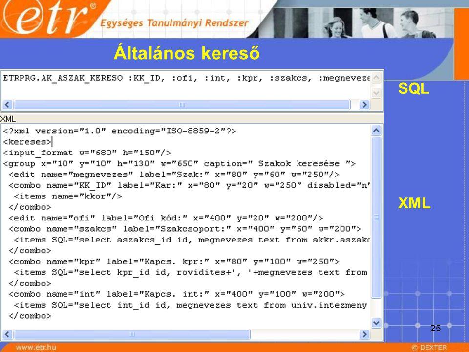 25 SQL XML Általános kereső