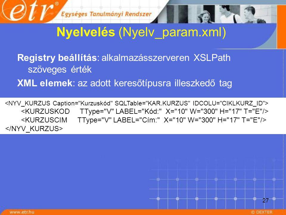 27 Nyelvelés (Nyelv_param.xml) Registry beállítás: alkalmazásszerveren XSLPath szöveges érték XML elemek: az adott keresőtípusra illeszkedő tag