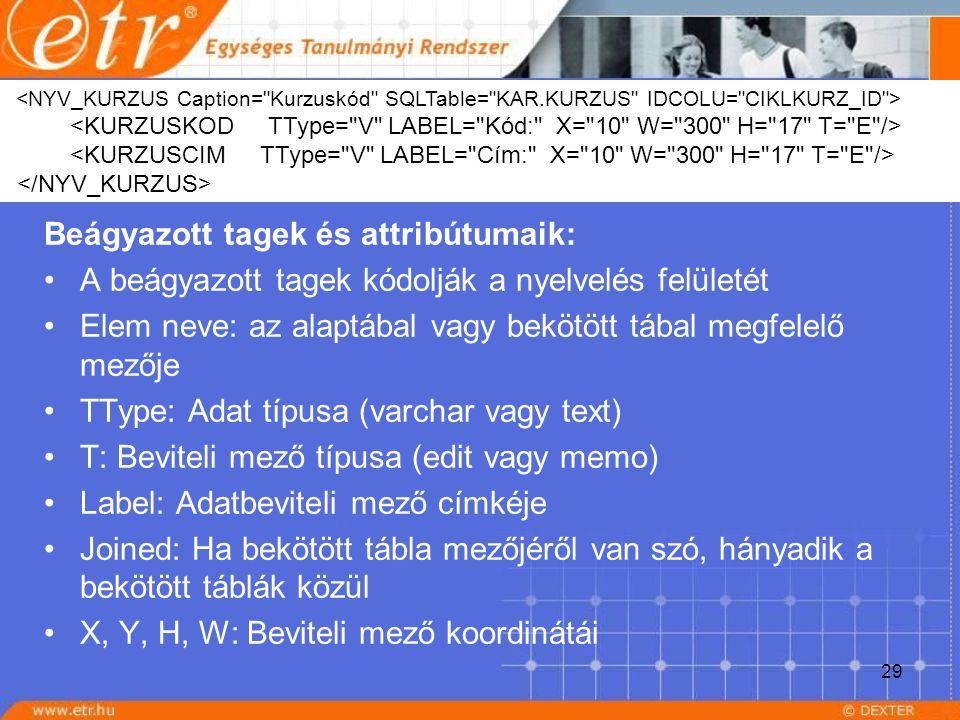 29 Beágyazott tagek és attribútumaik: A beágyazott tagek kódolják a nyelvelés felületét Elem neve: az alaptábal vagy bekötött tábal megfelelő mezője T