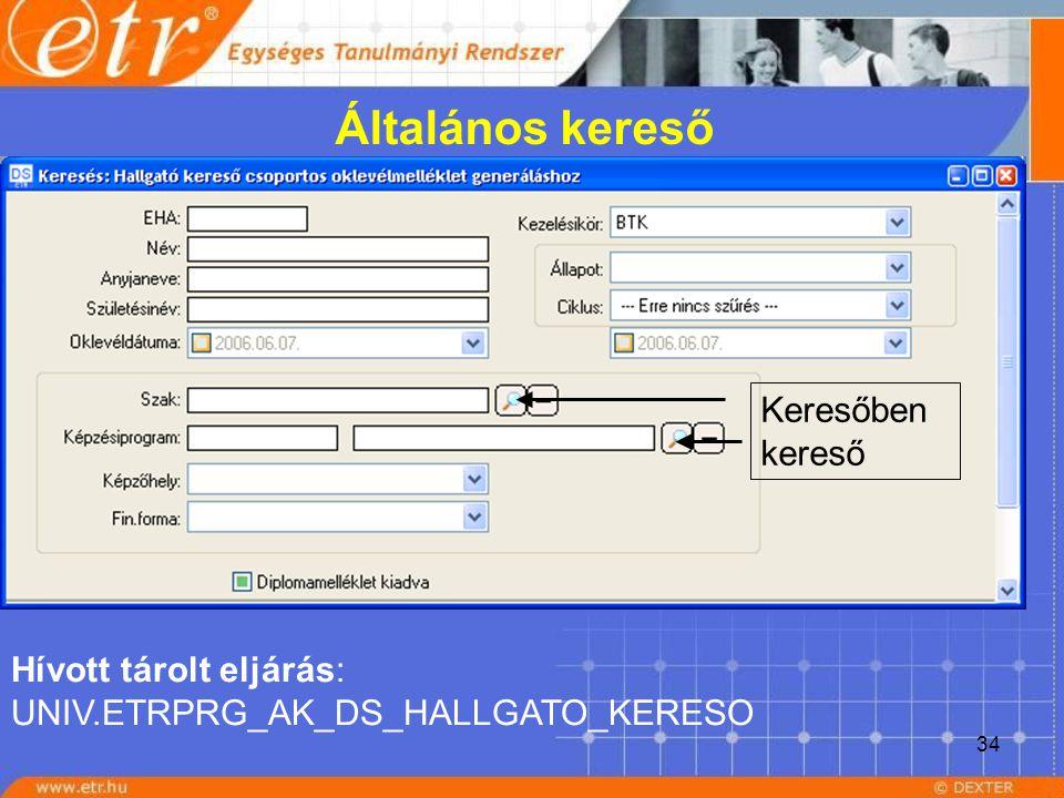 34 Általános kereső Hívott tárolt eljárás: UNIV.ETRPRG_AK_DS_HALLGATO_KERESO Keresőben kereső