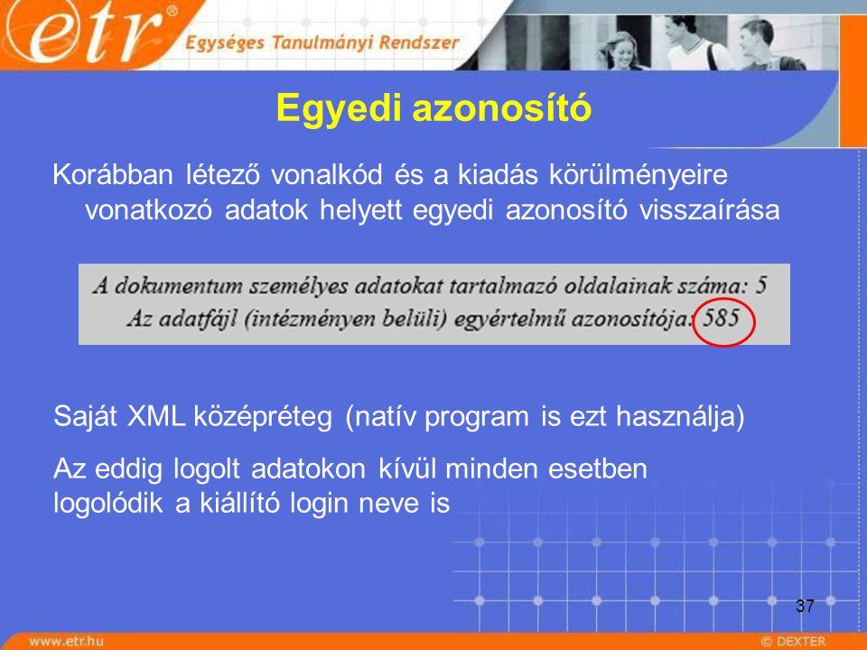37 Egyedi azonosító Korábban létező vonalkód és a kiadás körülményeire vonatkozó adatok helyett egyedi azonosító visszaírása Saját XML középréteg (nat