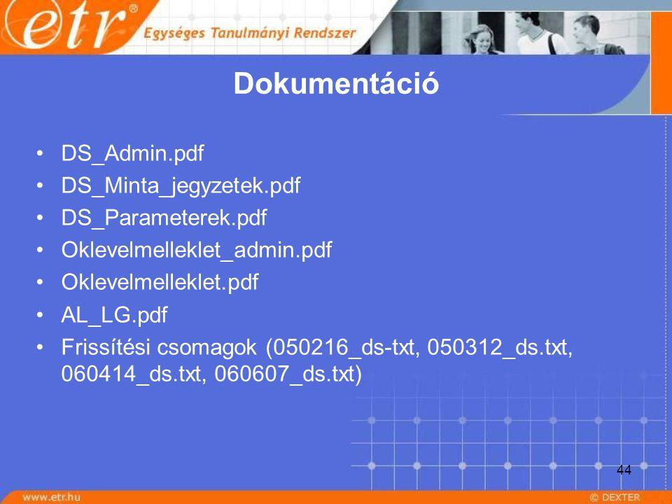 44 Dokumentáció DS_Admin.pdf DS_Minta_jegyzetek.pdf DS_Parameterek.pdf Oklevelmelleklet_admin.pdf Oklevelmelleklet.pdf AL_LG.pdf Frissítési csomagok (