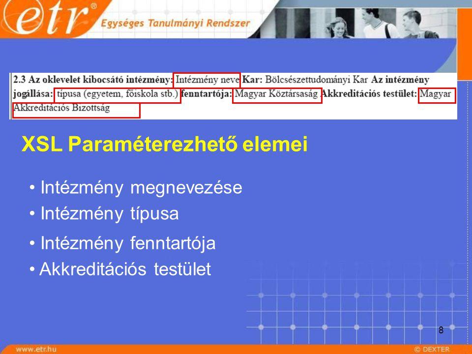 8 XSL Paraméterezhető elemei Intézmény megnevezése Intézmény típusa Intézmény fenntartója Akkreditációs testület
