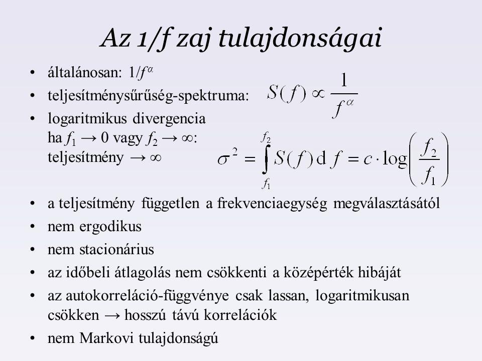 Az 1/f zaj tulajdonságai általánosan: 1/f α teljesítménysűrűség-spektruma: logaritmikus divergencia ha f 1 → 0 vagy f 2 → ∞: teljesítmény → ∞ a teljes