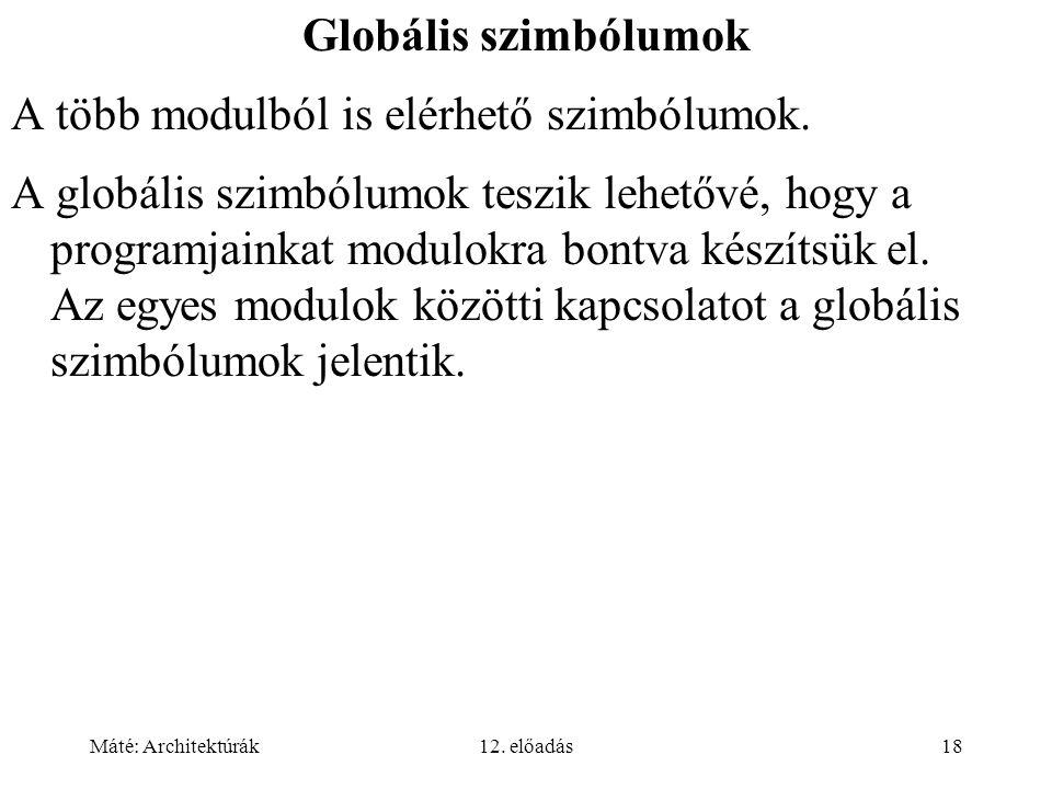 Máté: Architektúrák12. előadás18 Globális szimbólumok A több modulból is elérhető szimbólumok. A globális szimbólumok teszik lehetővé, hogy a programj