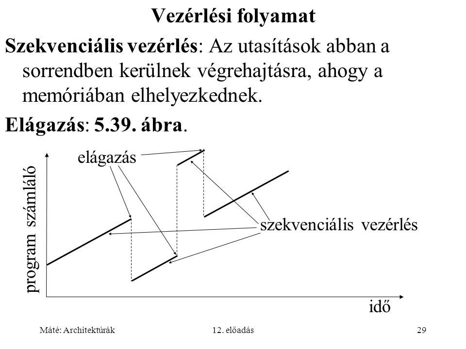 Máté: Architektúrák12. előadás29 Vezérlési folyamat Szekvenciális vezérlés: Az utasítások abban a sorrendben kerülnek végrehajtásra, ahogy a memóriába