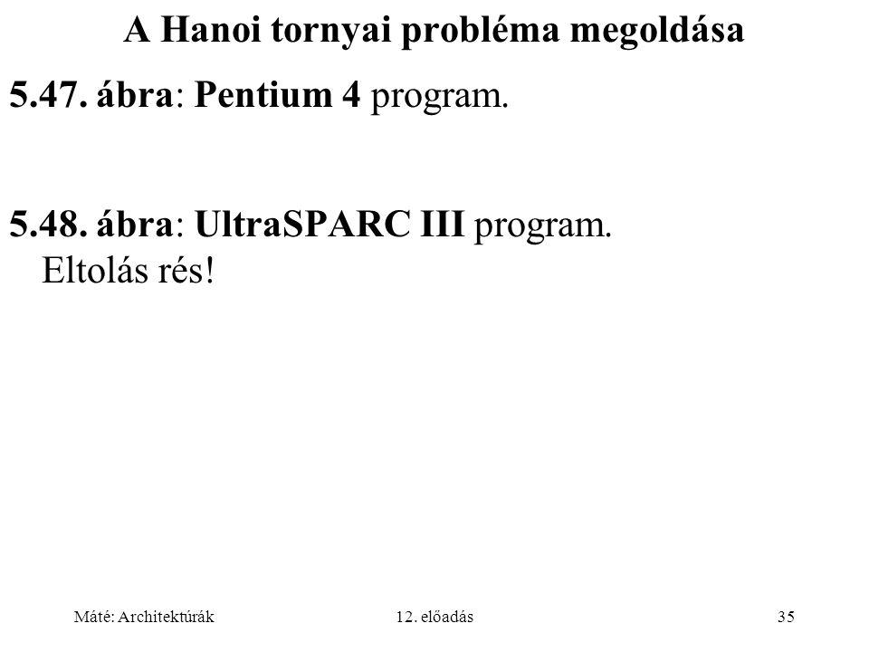 Máté: Architektúrák12. előadás35 A Hanoi tornyai probléma megoldása 5.47. ábra: Pentium 4 program. 5.48. ábra: UltraSPARC III program. Eltolás rés!