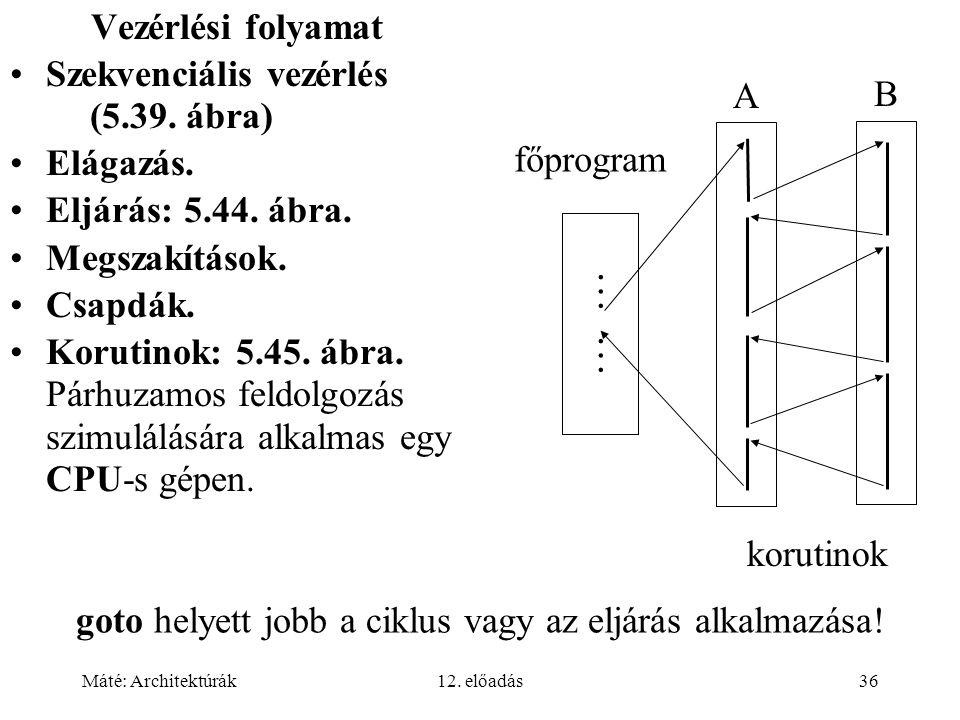Máté: Architektúrák12. előadás36 Vezérlési folyamat Szekvenciális vezérlés (5.39. ábra) Elágazás. Eljárás: 5.44. ábra. Megszakítások. Csapdák. Korutin