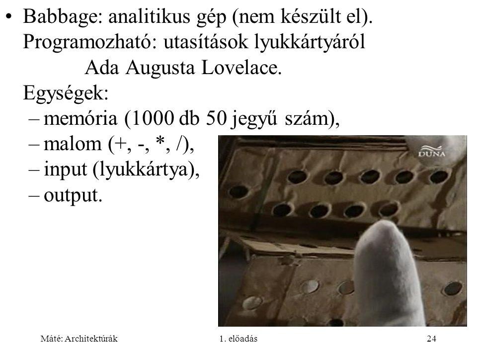 Máté: Architektúrák1.előadás24 Babbage: analitikus gép (nem készült el).
