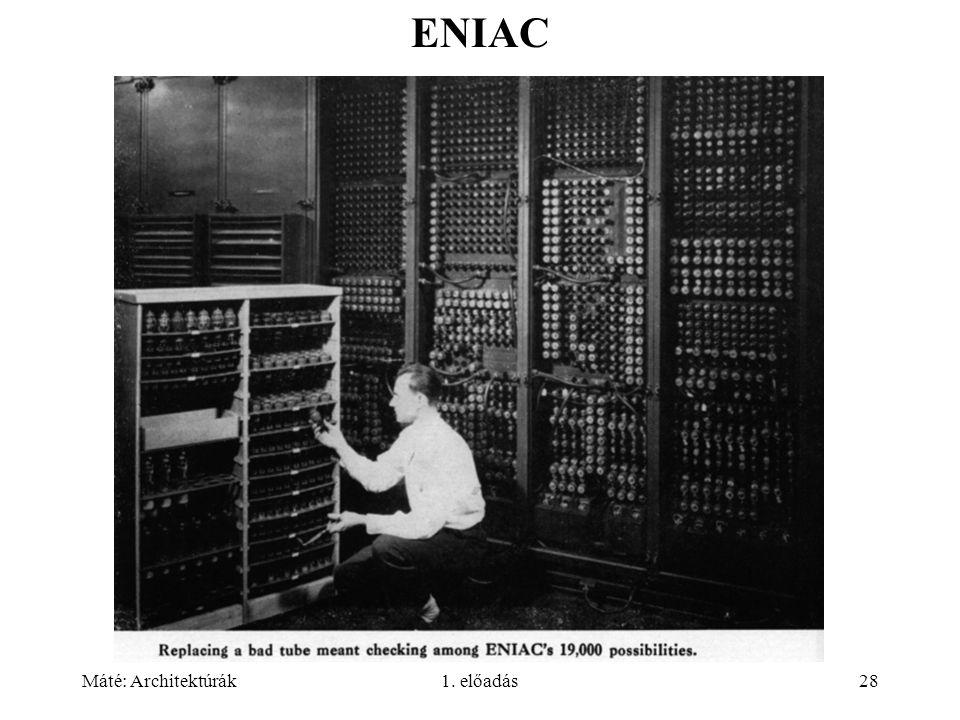 Máté: Architektúrák1. előadás28 ENIAC