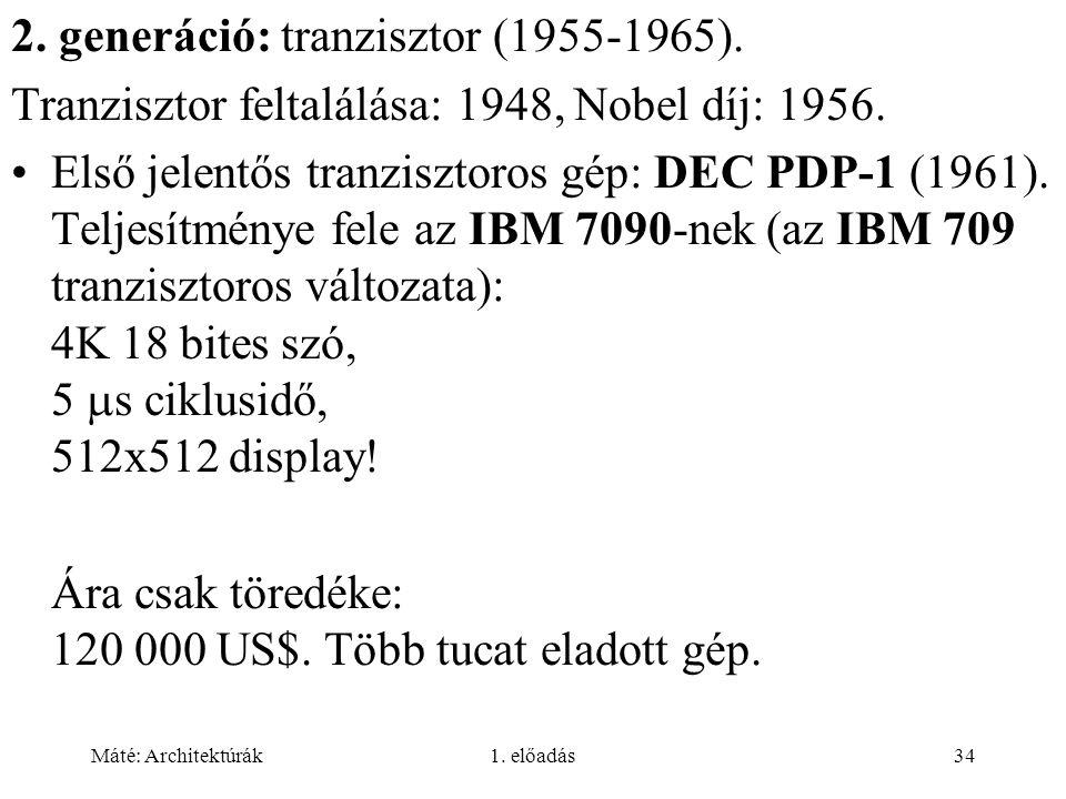 Máté: Architektúrák1.előadás34 2. generáció: tranzisztor (1955-1965).