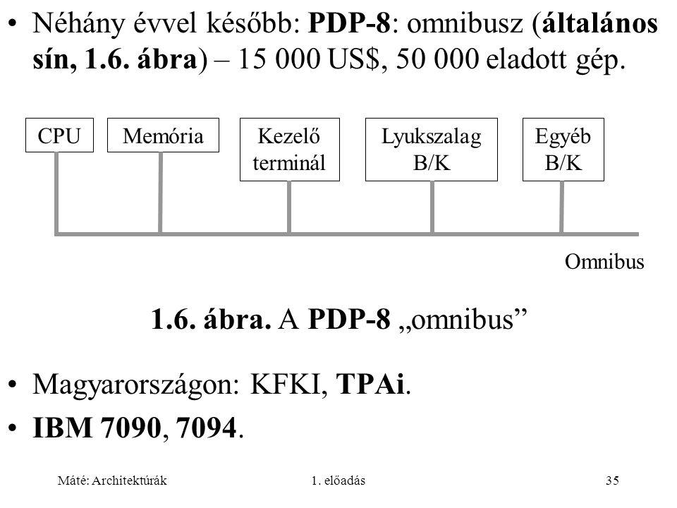 Máté: Architektúrák1.előadás35 Néhány évvel később: PDP-8: omnibusz (általános sín, 1.6.