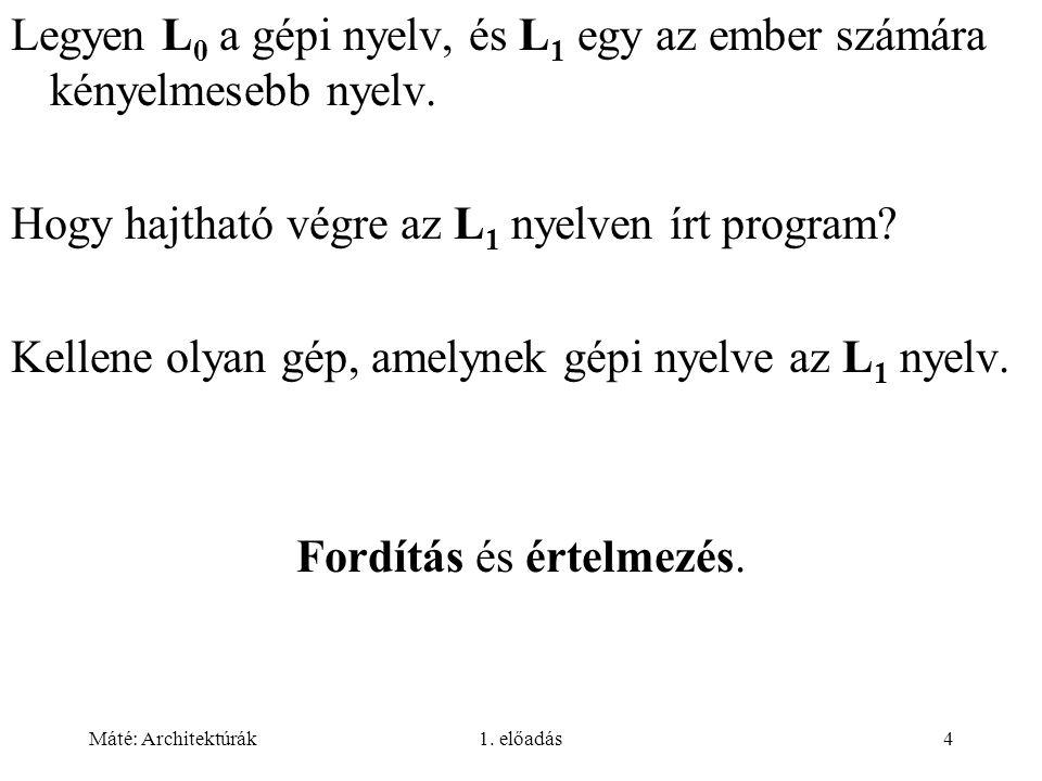 Máté: Architektúrák1.előadás55 Egyes komplemens: az első bit az előjel (0: pozitív, 1: negatív).