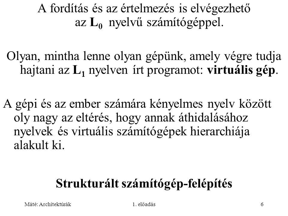 Máté: Architektúrák1.előadás37 3. generáció: integrált áramkör (1965-1980).