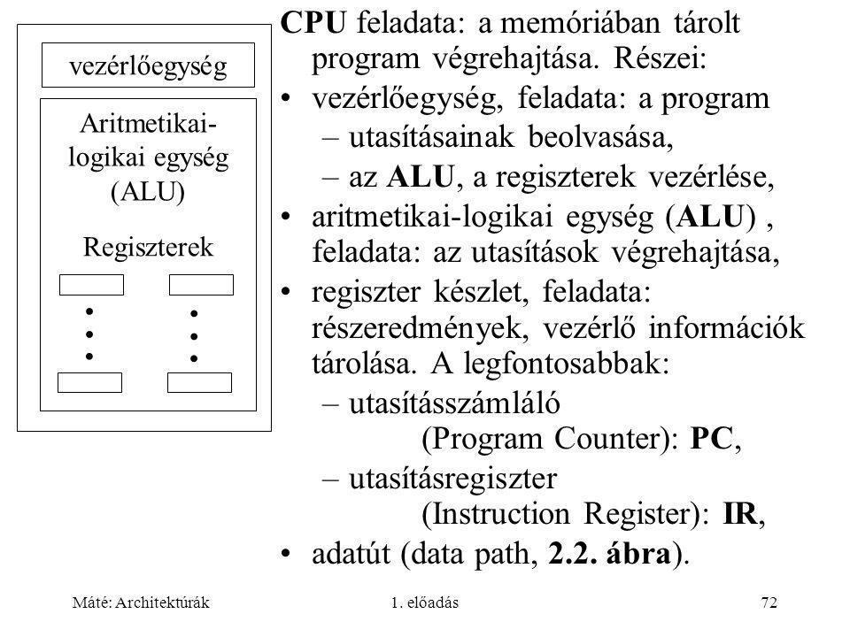 Máté: Architektúrák1.előadás72 CPU feladata: a memóriában tárolt program végrehajtása.