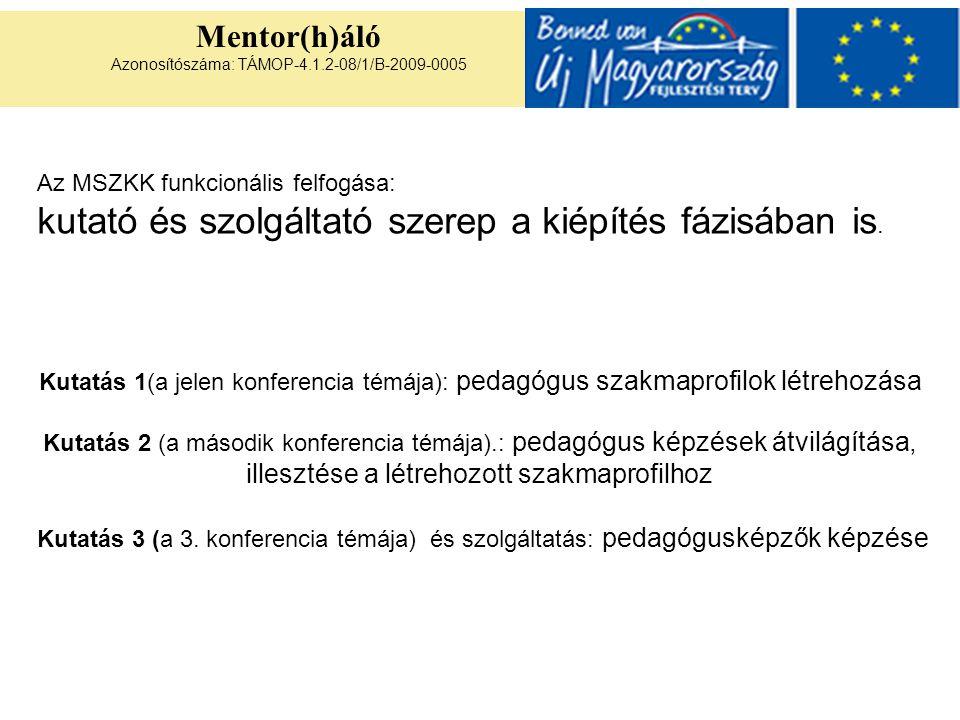 Mentor(h)áló Azonosítószáma: TÁMOP-4.1.2-08/1/B-2009-0005 Kutatás 1(a jelen konferencia témája): pedagógus szakmaprofilok létrehozása Kutatás 2 (a más