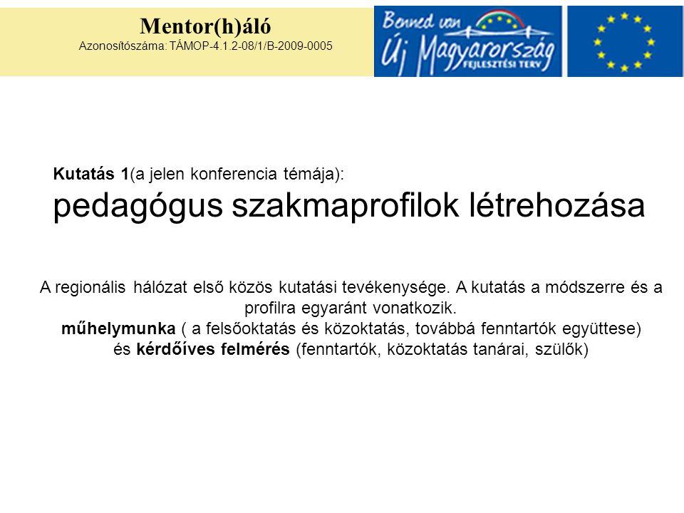 Mentor(h)áló Azonosítószáma: TÁMOP-4.1.2-08/1/B-2009-0005 Kutatás 1(a jelen konferencia témája): pedagógus szakmaprofilok létrehozása A regionális hálózat első közös kutatási tevékenysége.