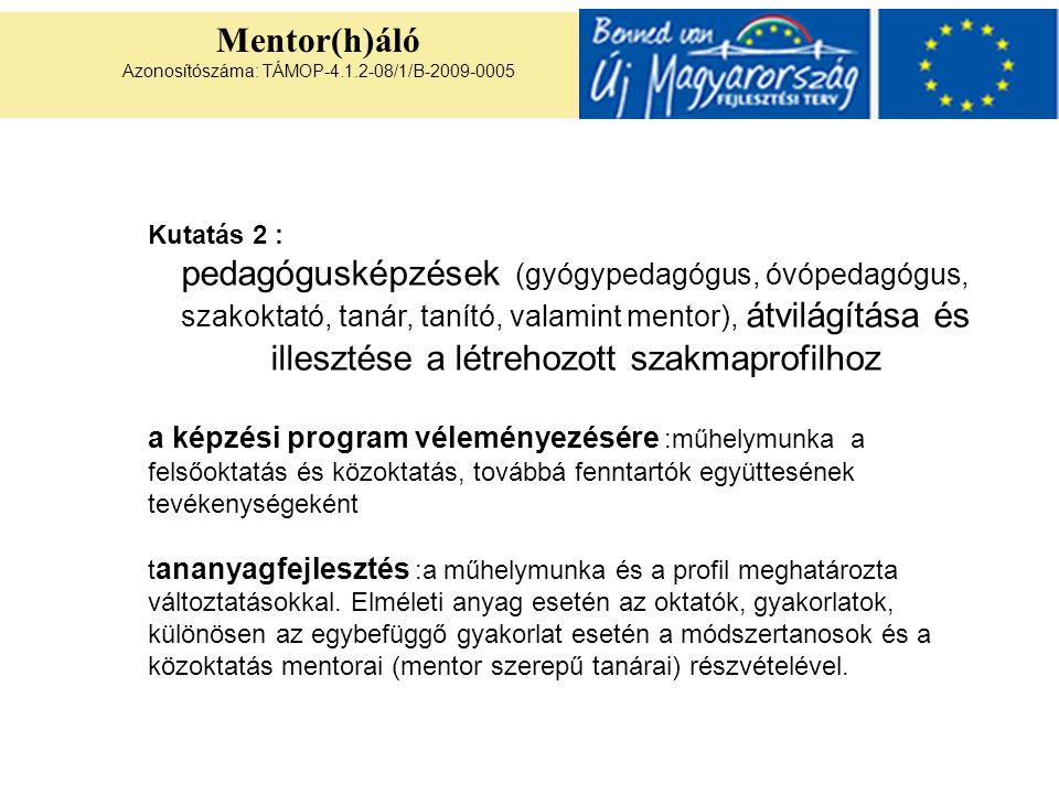 Mentor(h)áló Azonosítószáma: TÁMOP-4.1.2-08/1/B-2009-0005 Kutatás 2 : pedagógusképzések (gyógypedagógus, óvópedagógus, szakoktató, tanár, tanító, valamint mentor), átvilágítása és illesztése a létrehozott szakmaprofilhoz a képzési program véleményezésére :műhelymunka a felsőoktatás és közoktatás, továbbá fenntartók együttesének tevékenységeként t ananyagfejlesztés :a műhelymunka és a profil meghatározta változtatásokkal.