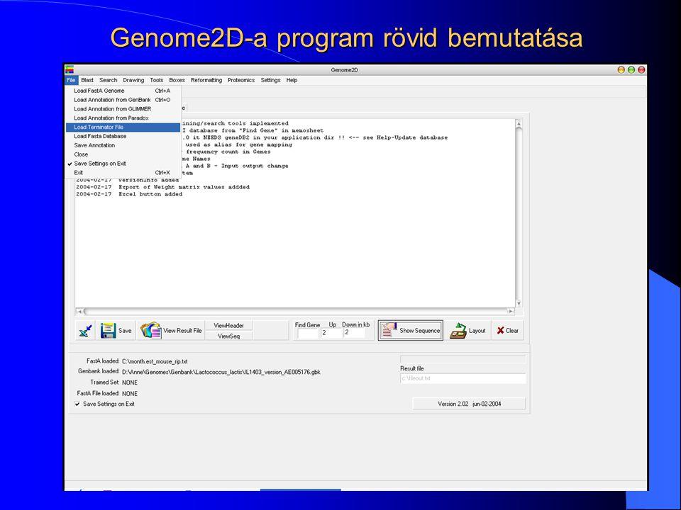 Genome2D-a program rövid bemutatása