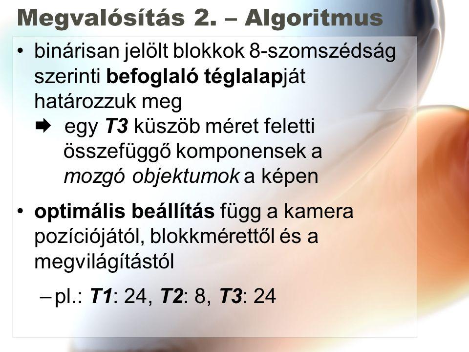 Megvalósítás 2. – Algoritmus binárisan jelölt blokkok 8-szomszédság szerinti befoglaló téglalapját határozzuk meg  egy T3 küszöb méret feletti összef