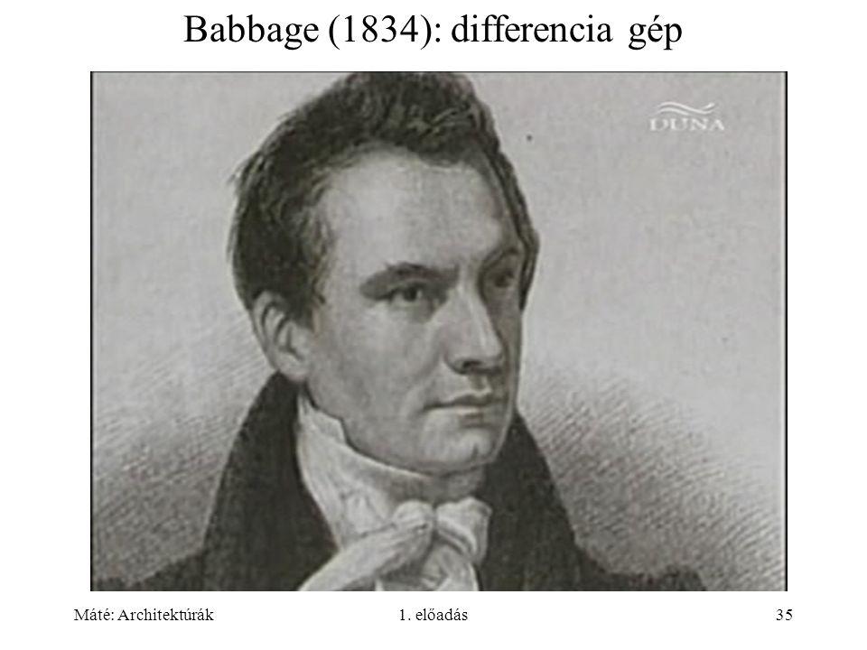 Máté: Architektúrák1. előadás35 Babbage (1834): differencia gép