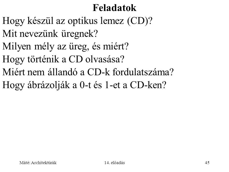 Máté: Architektúrák14. előadás45 Feladatok Hogy készül az optikus lemez (CD).