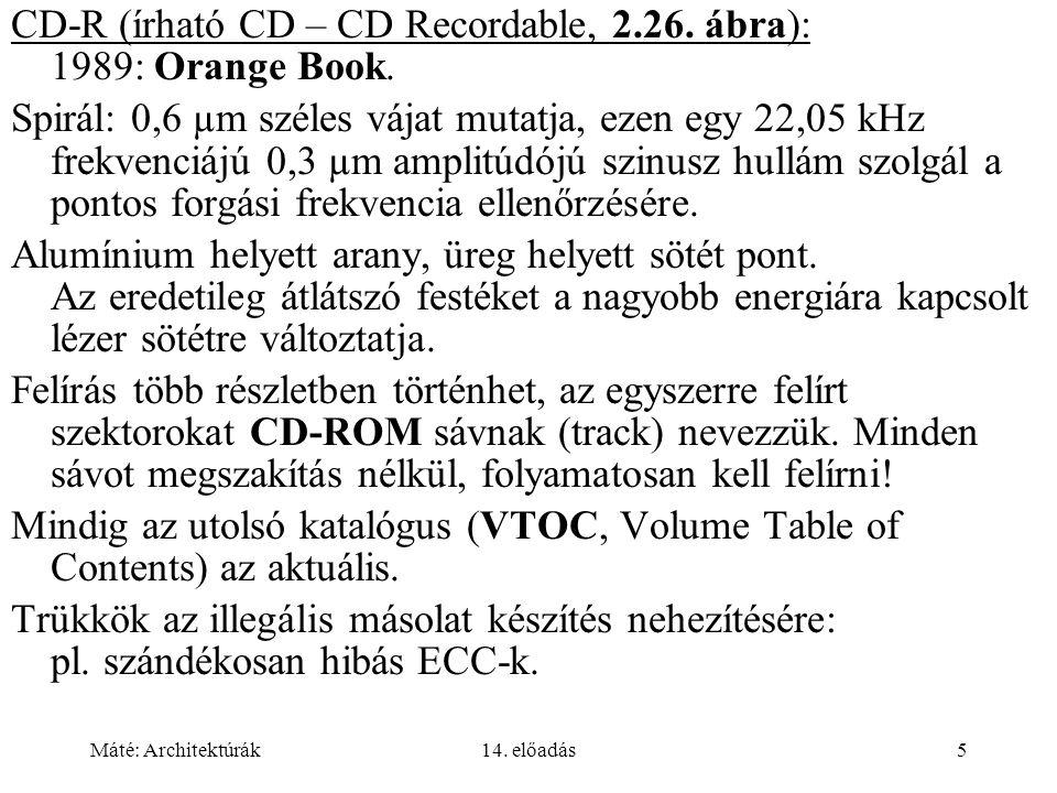 Máté: Architektúrák14. előadás5 CD-R (írható CD – CD Recordable, 2.26.